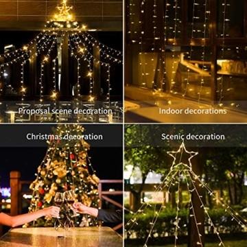 Ankway Solar Weihnachtslichter, 370 LED 8 Modi LED Solar Lichterkette Außen IP67 Wasserdichte Solar Lichterkette Aussen Dekoration für Gärten,Bäume,Garten, Balkon,Hochzeiten,Partys(Warmweiß) - 7