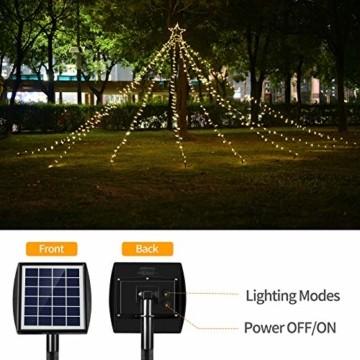 Ankway Solar Weihnachtslichter, 370 LED 8 Modi LED Solar Lichterkette Außen IP67 Wasserdichte Solar Lichterkette Aussen Dekoration für Gärten,Bäume,Garten, Balkon,Hochzeiten,Partys(Warmweiß) - 8