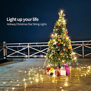 Ankway Solar Weihnachtslichter, 370 LED 8 Modi LED Solar Lichterkette Außen IP67 Wasserdichte Solar Lichterkette Aussen Dekoration für Gärten,Bäume,Garten, Balkon,Hochzeiten,Partys(Warmweiß) - 9