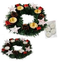 Annastore Adventskranz für Teelichter, fertig dekoriert Ø 30 cm inkl. 4 Teelichtern (Rot) - 1