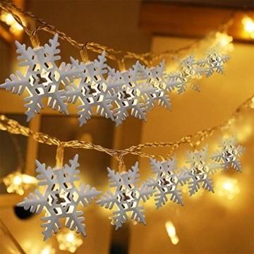 Anyingkai 10 kleine Lämpchen Led Lichtervorhang,Außenlichterkette Dekoration, Lichtervorhang,Led Lichtervorhang für Fenster,Led warmweiß Lichterkette Innen Weihnachten,Led Deko Weihnachten - 4