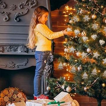 Anyingkai 10 kleine Lämpchen Led Lichtervorhang,Außenlichterkette Dekoration, Lichtervorhang,Led Lichtervorhang für Fenster,Led warmweiß Lichterkette Innen Weihnachten,Led Deko Weihnachten - 5