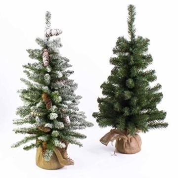 artplants.de Mini Weihnachtsbaum WARSCHAU, grün, Jutesack, 90cm, Ø 50cm - Künstlicher Christbaum - 2