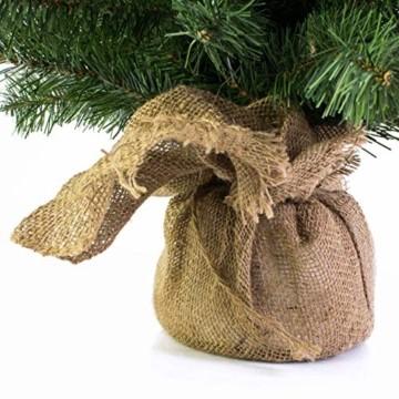 artplants.de Mini Weihnachtsbaum WARSCHAU, grün, Jutesack, 90cm, Ø 50cm - Künstlicher Christbaum - 3