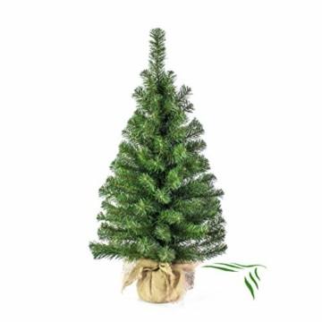 artplants.de Mini Weihnachtsbaum WARSCHAU, grün, Jutesack, 90cm, Ø 50cm - Künstlicher Christbaum - 1