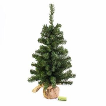 artplants.de Mini Weihnachtsbaum WARSCHAU, grün, Jutesack, 90cm, Ø 50cm - Künstlicher Christbaum - 5