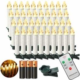 Aufun LED Weihnachtskerzen mit Fernbedienung 40 Stück Kabellos Kerzen mit Batterien Outdoor Weinachten für Weihnachtsbaum, Weihnachtsdeko, Hochzeitsdeko, Party, Feiertag, Warmweiß - 1