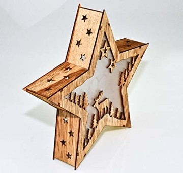 Bambelaa! Stern Holz Beleuchtet 10 LED Hologramm Weihnachtsbeleuchtung Weihnachtsdeko Weihnachten Holzstern ca 31,5x30cm - 3