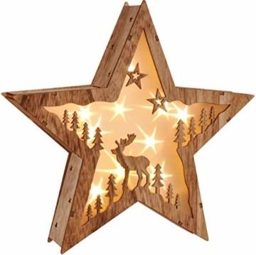 Bambelaa! Stern Holz Beleuchtet 10 LED Hologramm Weihnachtsbeleuchtung Weihnachtsdeko Weihnachten Holzstern ca 31,5x30cm - 4