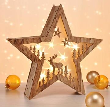 Bambelaa! Stern Holz Beleuchtet 10 LED Hologramm Weihnachtsbeleuchtung Weihnachtsdeko Weihnachten Holzstern ca 31,5x30cm - 5