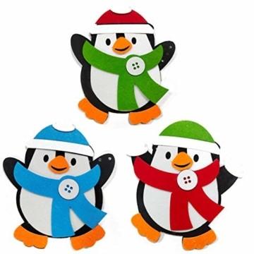 Basteln zu Weihnachten für Kinder,Christbaumschmuck Bastelset für Kinder, Weihnachtskugeln Anhänger Nähset Pinguin,Christbaumschmuck Bastelset für Kinder,Pinguin Pompons Dekorationen Bastelset - 2