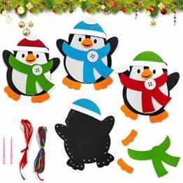 Basteln zu Weihnachten für Kinder,Christbaumschmuck Bastelset für Kinder, Weihnachtskugeln Anhänger Nähset Pinguin,Christbaumschmuck Bastelset für Kinder,Pinguin Pompons Dekorationen Bastelset - 1