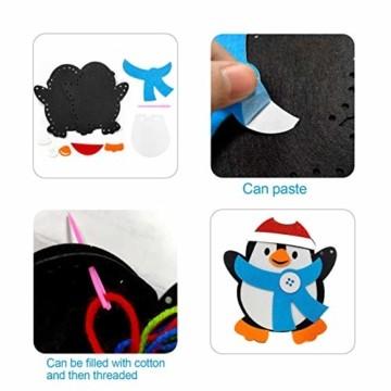 Basteln zu Weihnachten für Kinder,Christbaumschmuck Bastelset für Kinder, Weihnachtskugeln Anhänger Nähset Pinguin,Christbaumschmuck Bastelset für Kinder,Pinguin Pompons Dekorationen Bastelset - 5