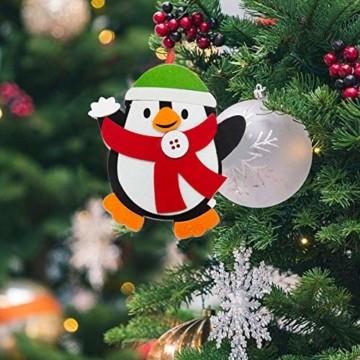 Basteln zu Weihnachten für Kinder,Christbaumschmuck Bastelset für Kinder, Weihnachtskugeln Anhänger Nähset Pinguin,Christbaumschmuck Bastelset für Kinder,Pinguin Pompons Dekorationen Bastelset - 6