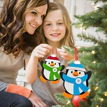 Basteln zu Weihnachten für Kinder,Christbaumschmuck Bastelset für Kinder, Weihnachtskugeln Anhänger Nähset Pinguin,Christbaumschmuck Bastelset für Kinder,Pinguin Pompons Dekorationen Bastelset - 7