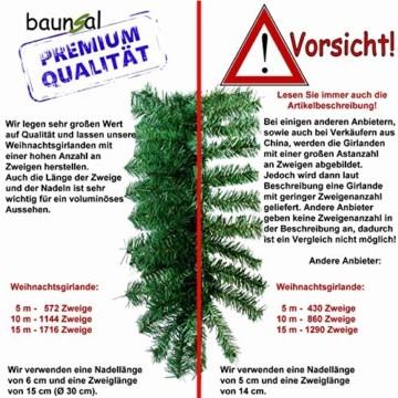 Baunsal GmbH & Co.KG Weihnachtsgirlande Tannengirlande Girlande grün 10 m und Lichterkette mit LEDs - 4