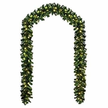 Baunsal GmbH & Co.KG Weihnachtsgirlande Tannengirlande Girlande grün 10 m und Lichterkette mit LEDs - 1
