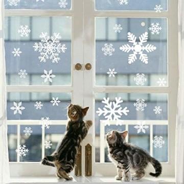 Begleri 135 Fensterbilder für Weihnachten,Schneeflocken mit Fensterdeko -Statisch Haftende PVC Aufklebe - 5