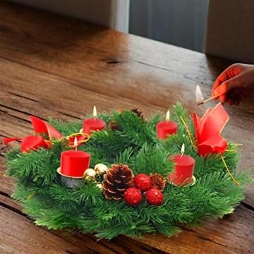 Belle Vous Adventskranz Kerzenhalter - 30 cm Durchmesser Künstlicher Adventskranz, Weihnachtskranz, Kerzenhalter mit Pinienzapfen Roten Beeren Schleifen für Weihnachtliche Tafelaufsätze Weihnachtsdeko - 3