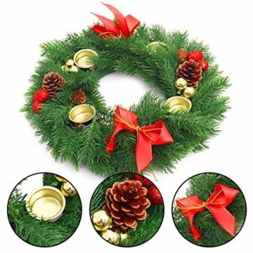 Belle Vous Adventskranz Kerzenhalter - 30 cm Durchmesser Künstlicher Adventskranz, Weihnachtskranz, Kerzenhalter mit Pinienzapfen Roten Beeren Schleifen für Weihnachtliche Tafelaufsätze Weihnachtsdeko - 4