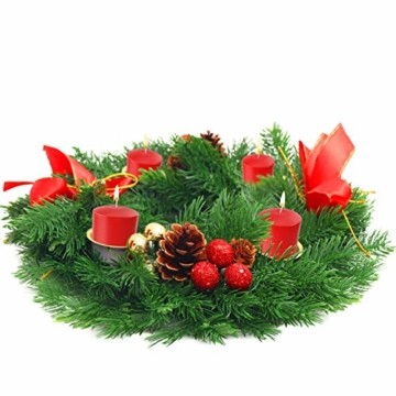 Belle Vous Adventskranz Kerzenhalter - 30 cm Durchmesser Künstlicher Adventskranz, Weihnachtskranz, Kerzenhalter mit Pinienzapfen Roten Beeren Schleifen für Weihnachtliche Tafelaufsätze Weihnachtsdeko - 1