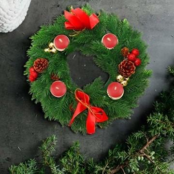 Belle Vous Adventskranz Kerzenhalter - 30 cm Durchmesser Künstlicher Adventskranz, Weihnachtskranz, Kerzenhalter mit Pinienzapfen Roten Beeren Schleifen für Weihnachtliche Tafelaufsätze Weihnachtsdeko - 6