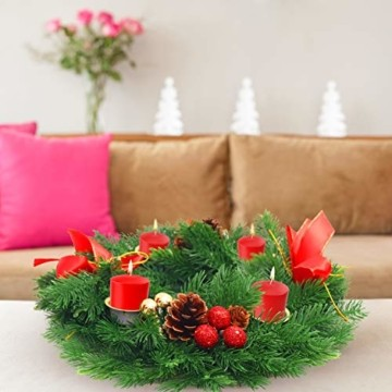 Belle Vous Adventskranz Kerzenhalter - 30 cm Durchmesser Künstlicher Adventskranz, Weihnachtskranz, Kerzenhalter mit Pinienzapfen Roten Beeren Schleifen für Weihnachtliche Tafelaufsätze Weihnachtsdeko - 7