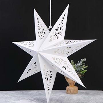 BESPORTBLE Papierstern Lampenschirm Aushöhlen Sterne Papier Weiß Faltsterne 45cm Hängeleuchtenschirm Hochzeit Geburtstag Weihnachten Party Festival Hängende Weihnachtsdekoration Stil B - 3