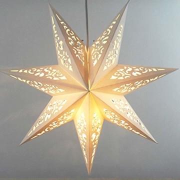 BESPORTBLE Papierstern Lampenschirm Aushöhlen Sterne Papier Weiß Faltsterne 45cm Hängeleuchtenschirm Hochzeit Geburtstag Weihnachten Party Festival Hängende Weihnachtsdekoration Stil B - 5