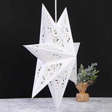 BESPORTBLE Papierstern Lampenschirm Aushöhlen Sterne Papier Weiß Faltsterne 45cm Hängeleuchtenschirm Hochzeit Geburtstag Weihnachten Party Festival Hängende Weihnachtsdekoration Stil B - 6