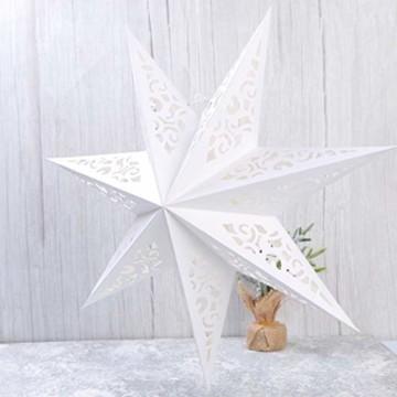 BESPORTBLE Papierstern Lampenschirm Aushöhlen Sterne Papier Weiß Faltsterne 45cm Hängeleuchtenschirm Hochzeit Geburtstag Weihnachten Party Festival Hängende Weihnachtsdekoration Stil B - 8