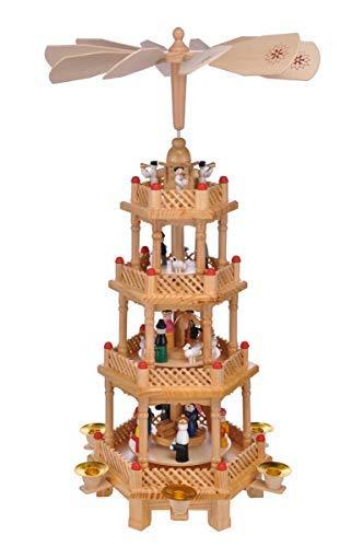 bonsport Weihnachtspyramide Holz für 6 Kerzen - Lichterpyramide Pyramide für Weihnachten, 52 cm - 2