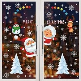 BOZHZO Fensterbilder Weihnachten Selbstklebend Weihnachtsaufkleber, 313 pcs Schneeflocken Aufkleber Fenster Sticker Weihnachtsdeko Netter Weihnachtsmann Statisch Haftende PVC Aufklebe Fenstersticker - 1