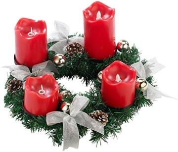 Britesta Gestecke LED-Kerze: Adventskranz, silbern, 4 rote LED-Kerzen mit bewegter Flamme (Weihnachtsschmuck LED-Beleuchtung) - 2