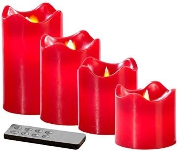 Britesta Gestecke LED-Kerze: Adventskranz, silbern, 4 rote LED-Kerzen mit bewegter Flamme (Weihnachtsschmuck LED-Beleuchtung) - 3