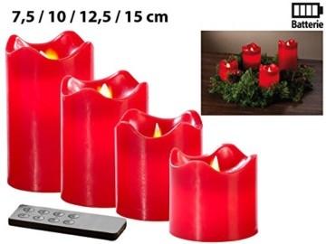Britesta Gestecke LED-Kerze: Adventskranz, silbern, 4 rote LED-Kerzen mit bewegter Flamme (Weihnachtsschmuck LED-Beleuchtung) - 4