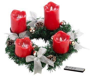 Britesta Gestecke LED-Kerze: Adventskranz, silbern, 4 rote LED-Kerzen mit bewegter Flamme (Weihnachtsschmuck LED-Beleuchtung) - 1