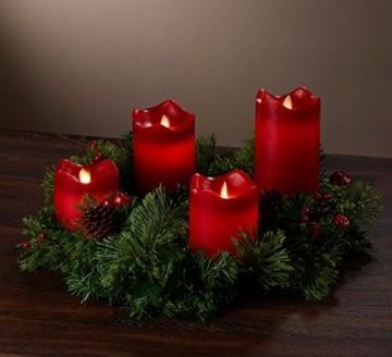 Britesta Gestecke LED-Kerze: Adventskranz, silbern, 4 rote LED-Kerzen mit bewegter Flamme (Weihnachtsschmuck LED-Beleuchtung) - 9