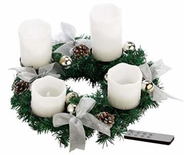 Britesta Tannenkränze LED-Kerzen: Adventskranz mit weißen LED-Kerzen, silbern geschmückt (Elektrische Kerzen Adventskranz) - 1