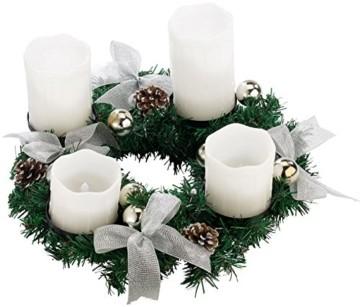 Britesta Tannenkränze LED-Kerzen: Adventskranz mit weißen LED-Kerzen, silbern geschmückt (Elektrische Kerzen Adventskranz) - 5