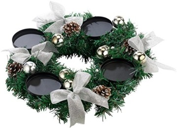 Britesta Tannenkränze LED-Kerzen: Adventskranz mit weißen LED-Kerzen, silbern geschmückt (Elektrische Kerzen Adventskranz) - 7