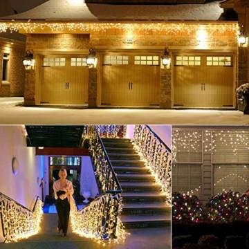 BrizLabs 480er LED Eisregen Lichterkette Lichtervorhang Eiszapfen Außen Innen Weihnachten Beleuchtung Wasserdicht Strombetrieben mit Stecker für Xmas Balkon Garten Party Hochzeit Deko, Warmweiß - 5