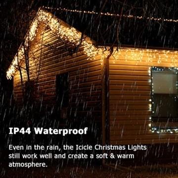 BrizLabs Weihnachtsbeleuchtung Außen 360 LED Eisregen Lichterkette Lichtervorhang Warmweiß Eiszapfen Weihnachten Deko 8 Modi Timer und Dimmbar mit Fernbedienung für Party Hochzeit Garten Balkon - 3