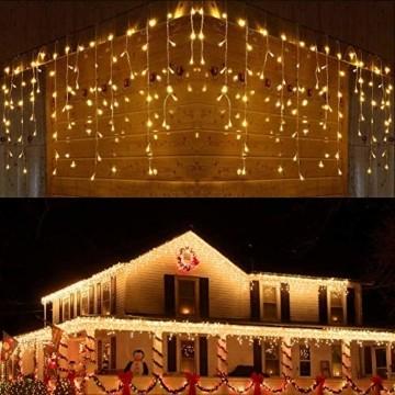 BrizLabs Weihnachtsbeleuchtung Außen 360 LED Eisregen Lichterkette Lichtervorhang Warmweiß Eiszapfen Weihnachten Deko 8 Modi Timer und Dimmbar mit Fernbedienung für Party Hochzeit Garten Balkon - 1