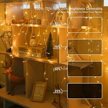 BrizLabs Weihnachtsbeleuchtung Außen 360 LED Eisregen Lichterkette Lichtervorhang Warmweiß Eiszapfen Weihnachten Deko 8 Modi Timer und Dimmbar mit Fernbedienung für Party Hochzeit Garten Balkon - 5