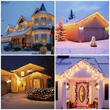 BrizLabs Weihnachtsbeleuchtung Außen 360 LED Eisregen Lichterkette Lichtervorhang Warmweiß Eiszapfen Weihnachten Deko 8 Modi Timer und Dimmbar mit Fernbedienung für Party Hochzeit Garten Balkon - 6