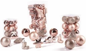 Brubaker 77-teiliges Set Weihnachtskugeln Christbaumschmuck - Kunststoff Roségold/Silber - 4