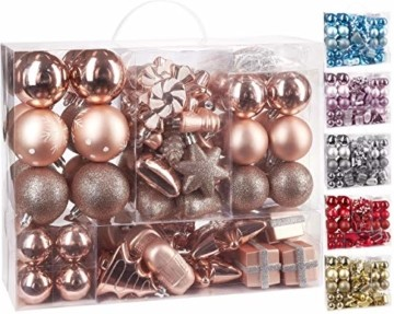 Brubaker 77-teiliges Set Weihnachtskugeln Christbaumschmuck - Kunststoff Roségold/Silber - 1