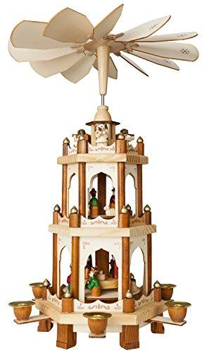 Brubaker Weihnachtspyramide Holzpyramide - Natur - 3 Etagen - 45 cm Höhe - handbemalte Figuren - 2