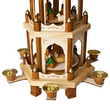 Brubaker Weihnachtspyramide Holzpyramide - Natur - 3 Etagen - 45 cm Höhe - handbemalte Figuren - 3